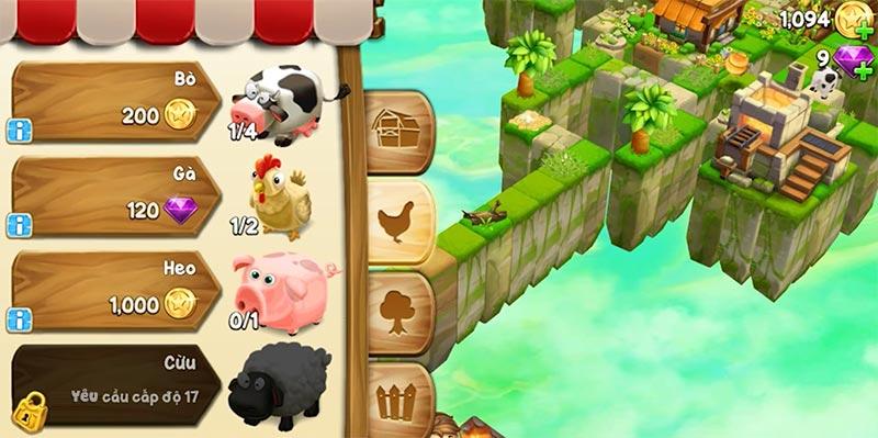 Cube Skyland - Lối chơi game nông trại chăn nuôi kinh điển