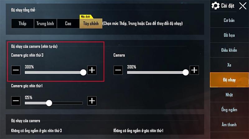 Điều chỉnh Độ nhảy của camera góc nhìn thứ 3 để dễ dàng quan sát khi chơi game online bắn súng