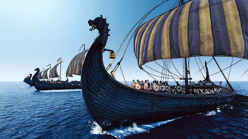 Chiếc thuyền Drakkar biểu tượng của đội quân Viking trên biển khơi game offline hành động Assassin's Creed Valhalla