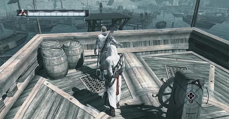 Altaïr giết Jubair al Hakim trên thuyền trong Assassin's Creed 1 cốt truyện trò chơi hành động lén lút