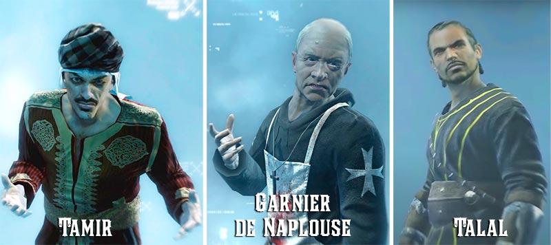 3 mục tiêu đầu tiên của Altaïr trong tựa game hành động phiêu lưu Tamir, Garnier de Naplouse, Talal