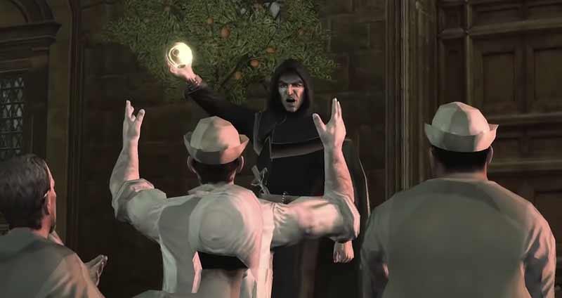 Girolamo Savonarola sử dụng Quả Táo Địa Đàng với ý đồ đen tối - Assassin's Creed 2 bí mật căn hầm Rome được hé lộ