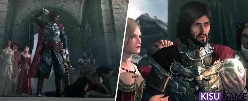 Cesare xử quyết Mario ngay cổng thành Monteriggioni - cốt truyện game offline hành động Assassin's Creed Brotherhood