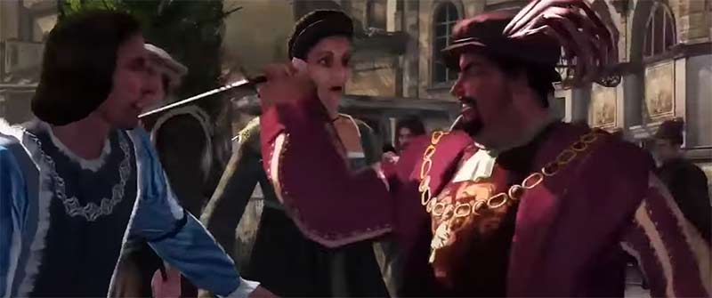 Lorenzo de' Medici bị thương và giết hại em trai của ông ngay tại khu vực quảng trường - Assassin's Creed 2 tóm tắt cốt truyện