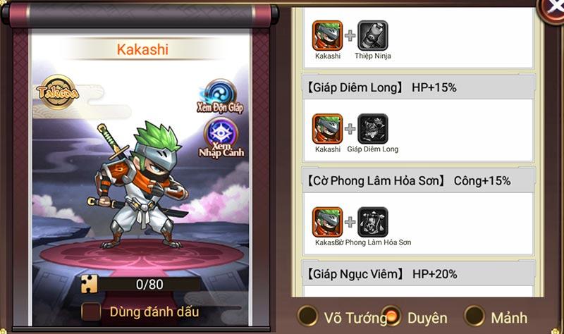 Đại chiến Samurai VNG - Đội hình gia tộc Takeda - Kakashi