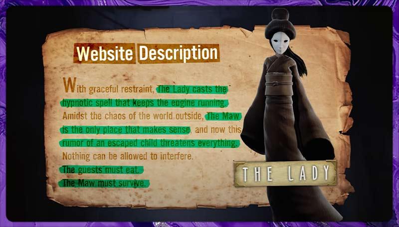 Đoạn mô tả về The Lady trong phân tích game Little Nightmares 1
