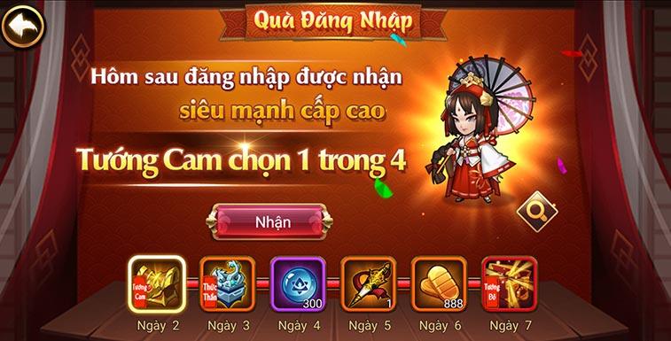 Game thẻ tướng mobile Đại chiến Samurai - Quà đăng nhập ngày 2