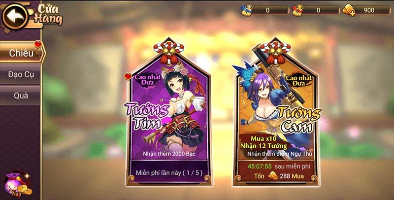 Game mobile thẻ tướng Đại chiến Samurai VNG - Tính năng Thương Phẩm