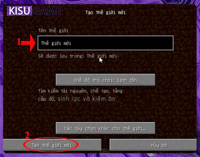 Hướng dẫn cách chơi Minecraft chế độ sinh tồn - Tạo thế giới mới